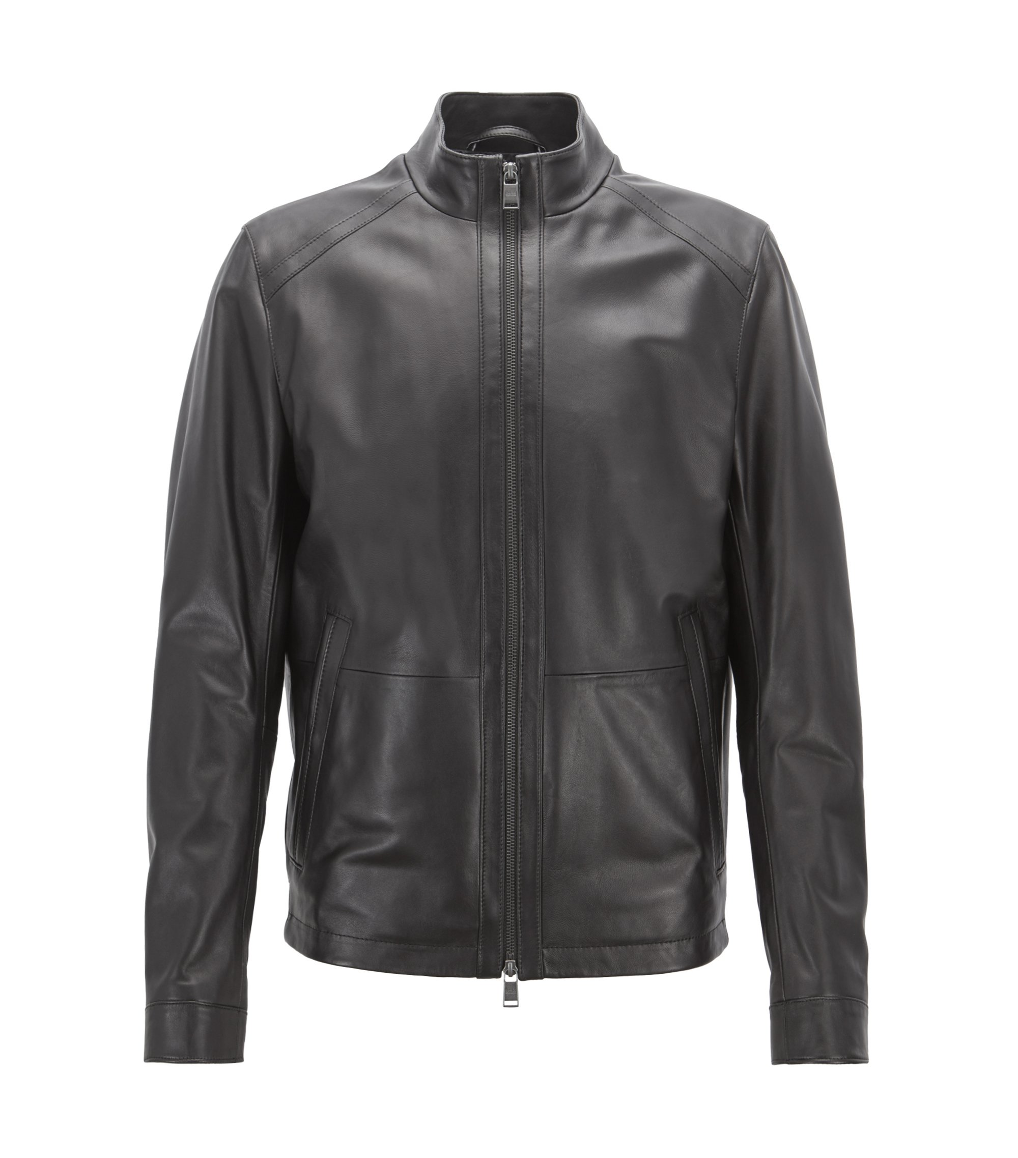 Blouson regular fit in nappa d'agnello, Nero