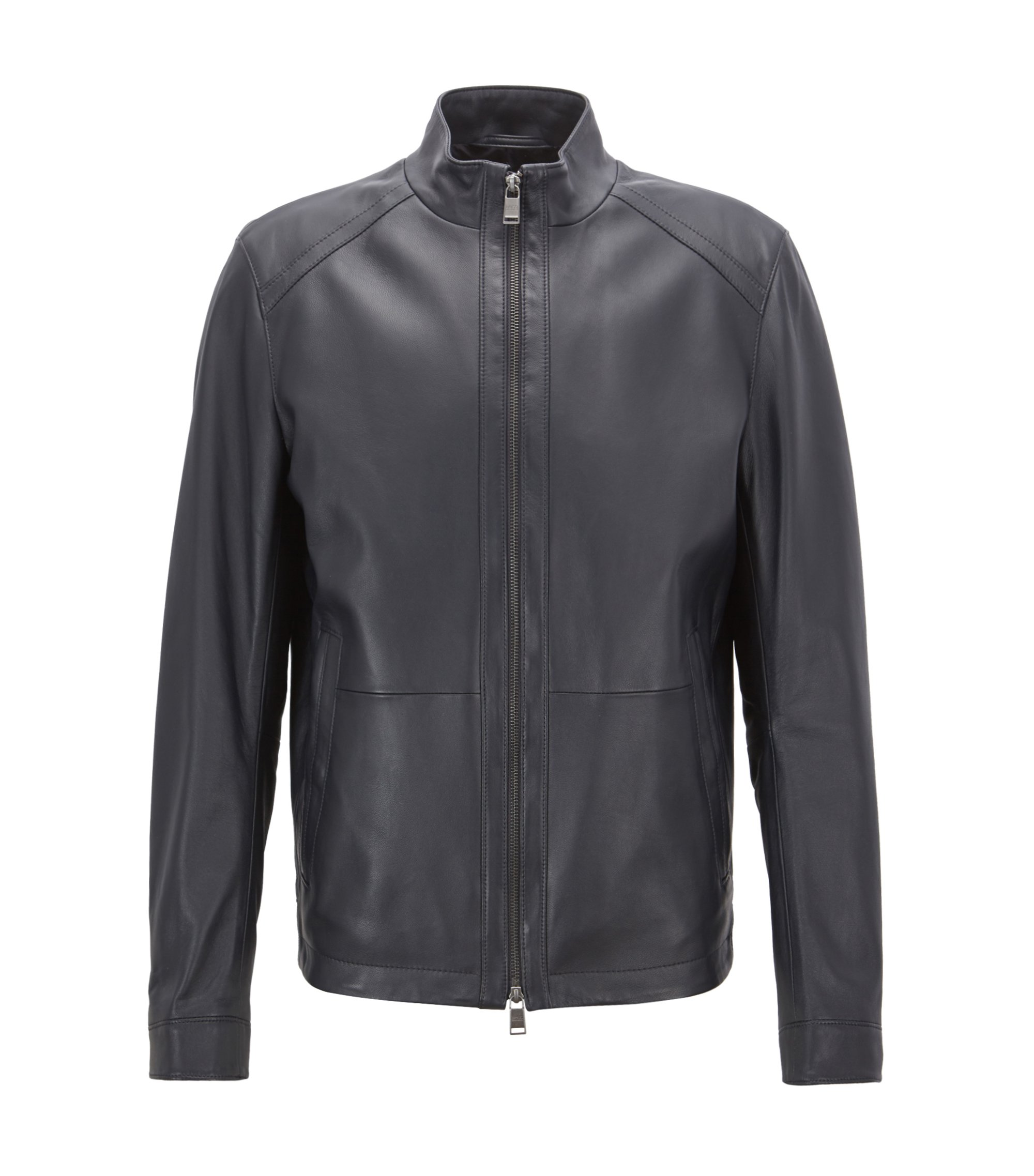 Blouson regular fit in nappa d'agnello, Blu scuro