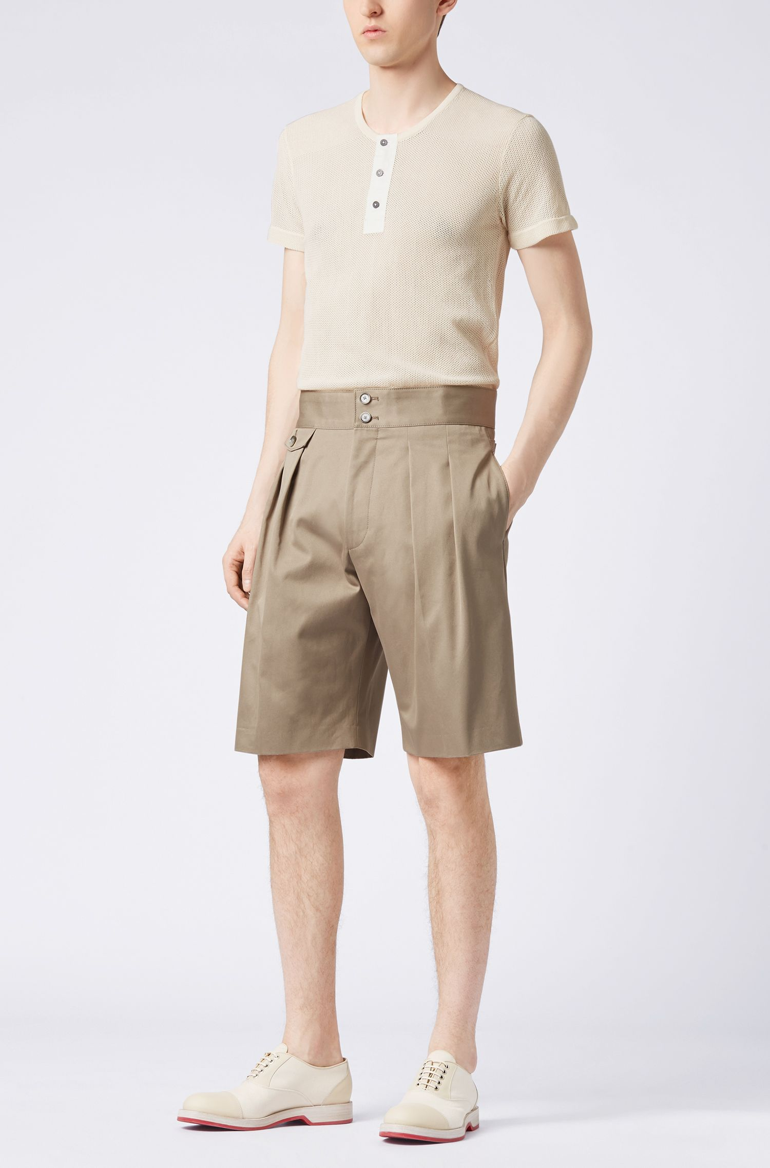 Henley-style short-sleeved knitted sweater in cotton
