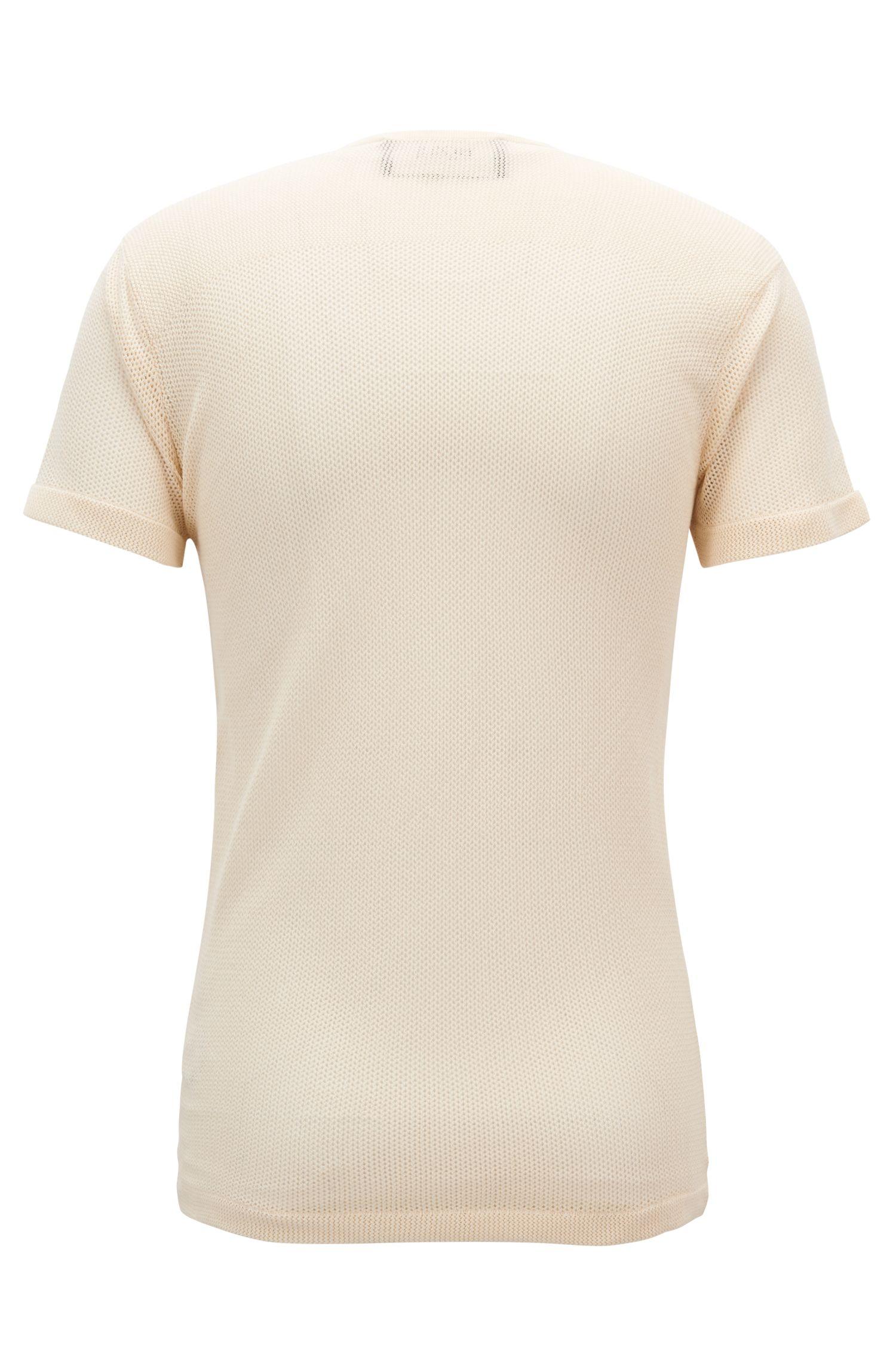 Jersey de estilo Henley con manga corta en punto de algodón