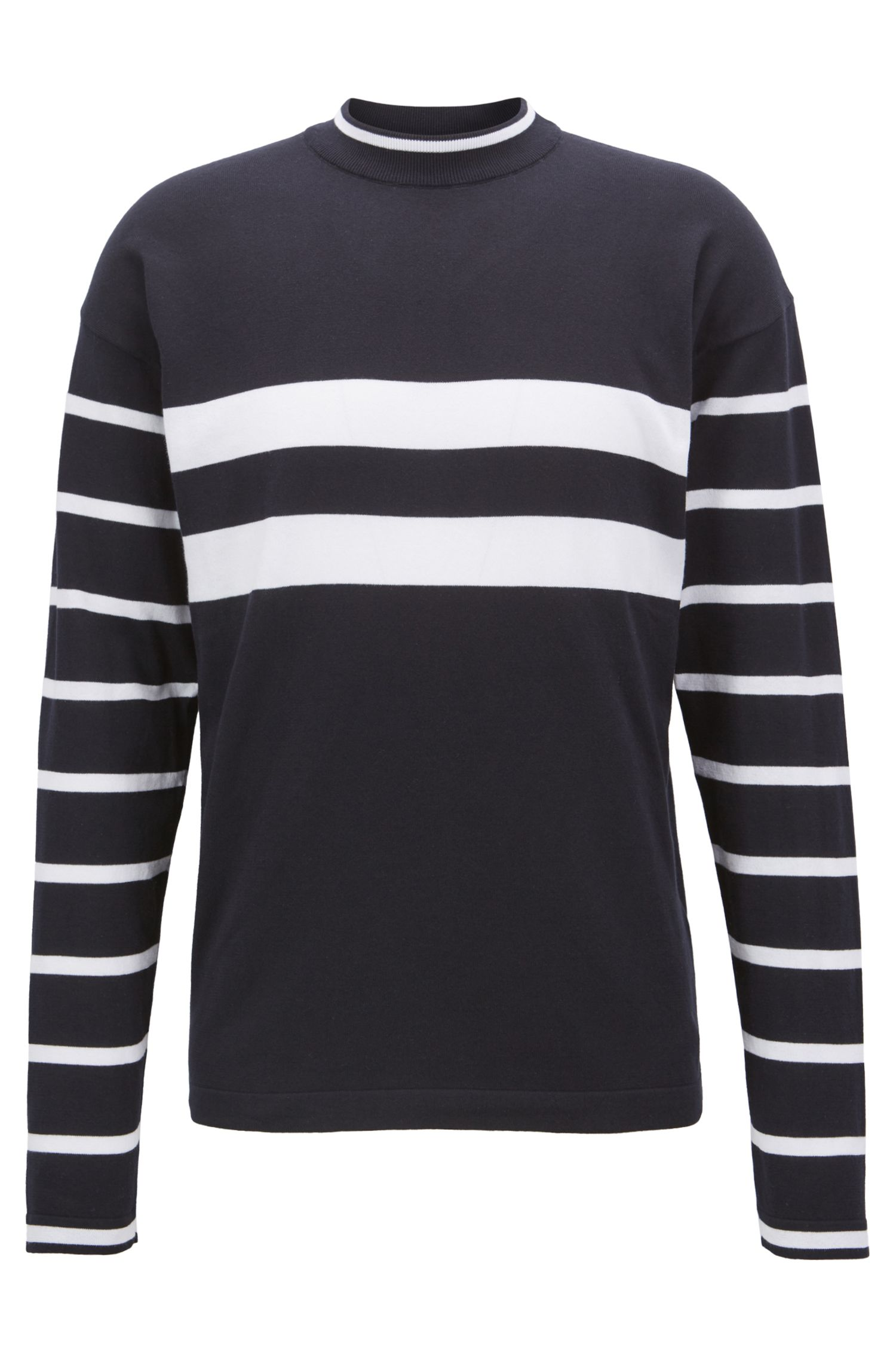 Striped crew-neck sweater in cotton jersey