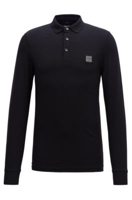 Slim-fit polo shirt in stretch cotton piqué , Black