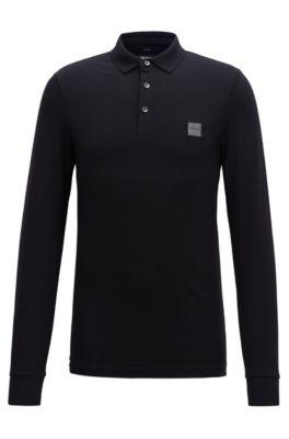 Polo Slim Fit en piqué de coton stretch , Noir