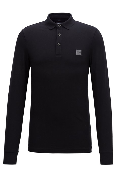 Slim-fit polo van katoenpiqué met stretch , Zwart