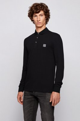 Slim-fit polo shirt in stretch-cotton piqué , Black