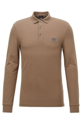 Polo slim fit in piqué di cotone elasticizzato , Marrone