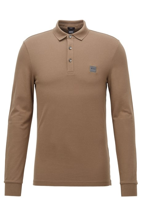 Slim-fit polo shirt in stretch cotton piqué , Brown