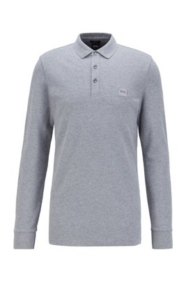 Slim-fit polo shirt in stretch-cotton piqué , Light Grey
