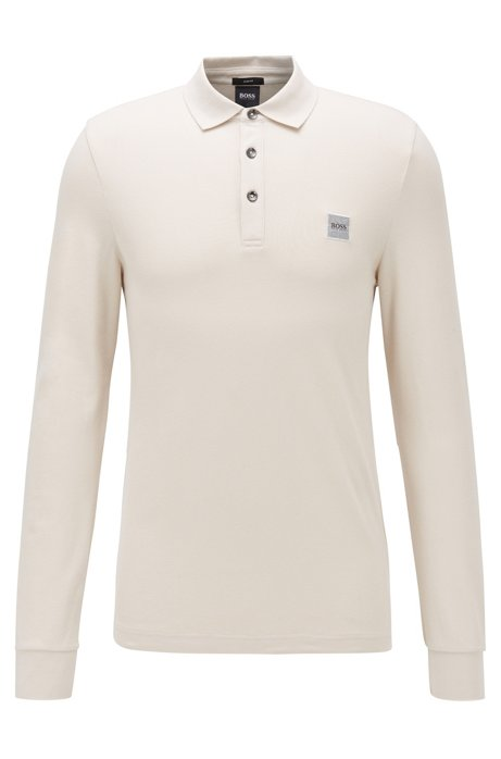 Slim-fit polo van katoenpiqué met stretch , Beige