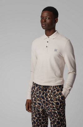 Slim-fit polo shirt in stretch-cotton piqué , Beige