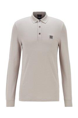 Slim-fit polo shirt in stretch-cotton piqué , Light Grey