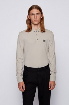 Slim-fit polo shirt in stretch cotton piqué , Light Grey