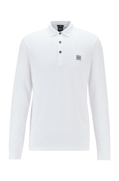Polo Slim Fit en piqué de coton stretch , Blanc