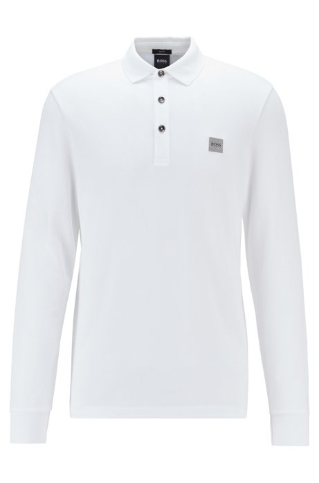 Polo Slim Fit en piqué de coton stretch , Blanc