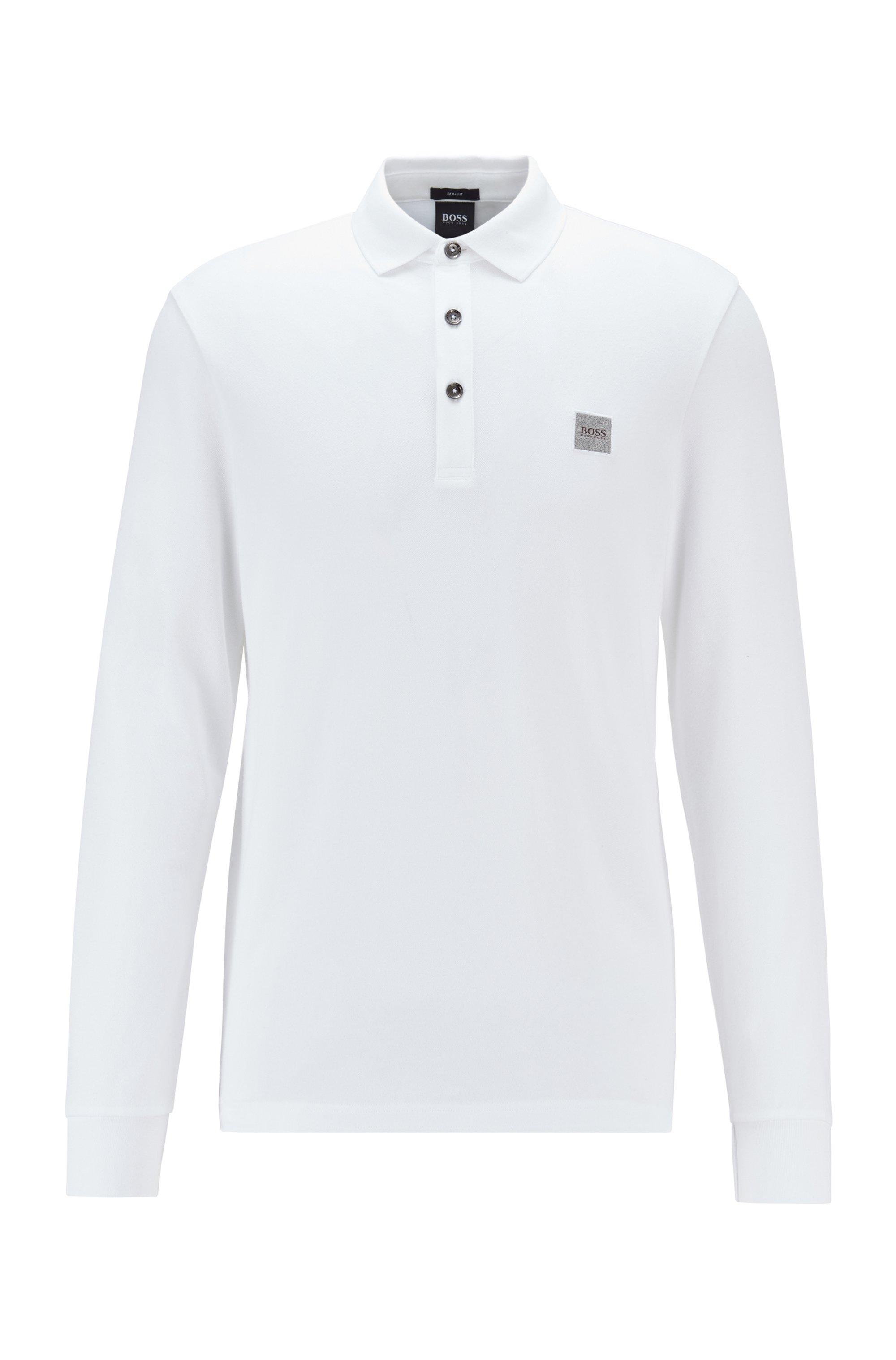 Longsleeve-Poloshirt aus elastischem Baumwoll-Piqué , Weiß