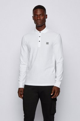 Slim-fit polo shirt in stretch cotton piqué , White