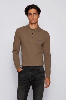 Slim-fit polo shirt in stretch cotton piqué , Khaki