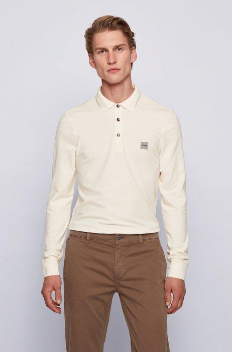 Slim-fit polo shirt in stretch-cotton piqué , White