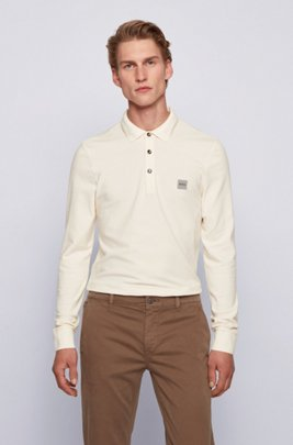 Slim-fit polo shirt in stretch-cotton piqué , White