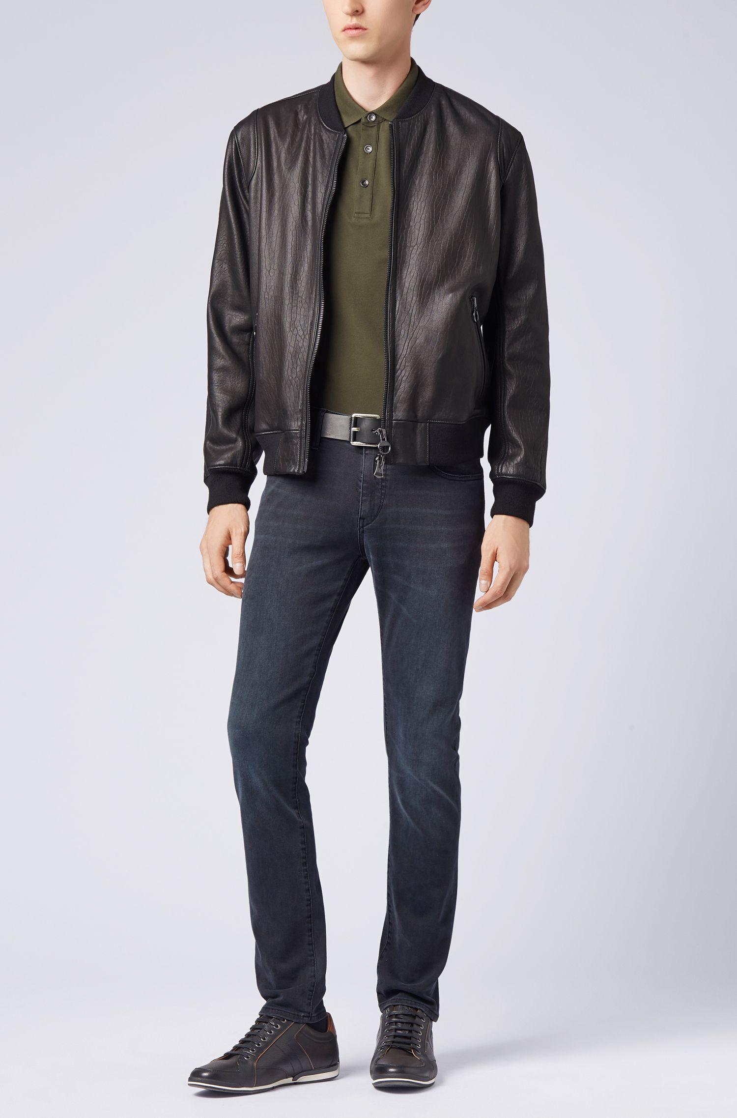 Longsleeve-Poloshirt aus elastischem Baumwoll-Piqué , Dunkelgrün