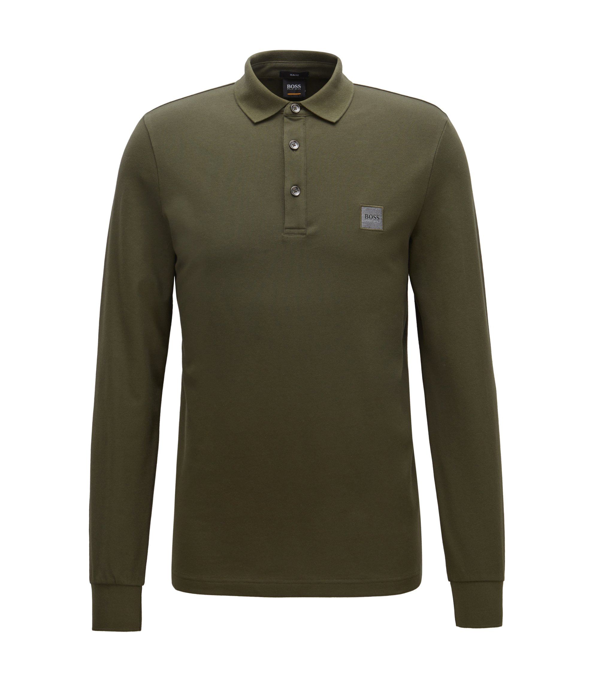 Slim-fit polo shirt in stretch cotton piqué , Dark Green