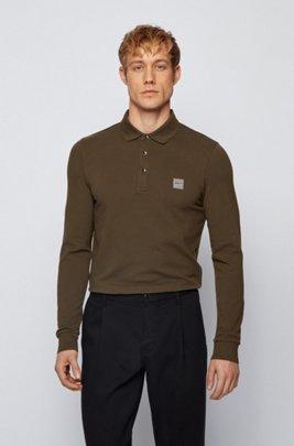 Slim-fit polo shirt in stretch-cotton piqué , Khaki