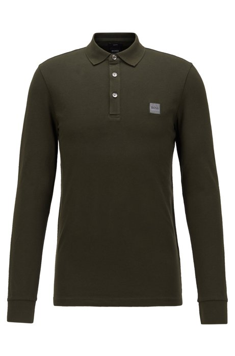 Slim-fit polo van katoenpiqué met stretch , Kalk