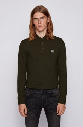 Slim-fit polo shirt in stretch cotton piqué , Light Green