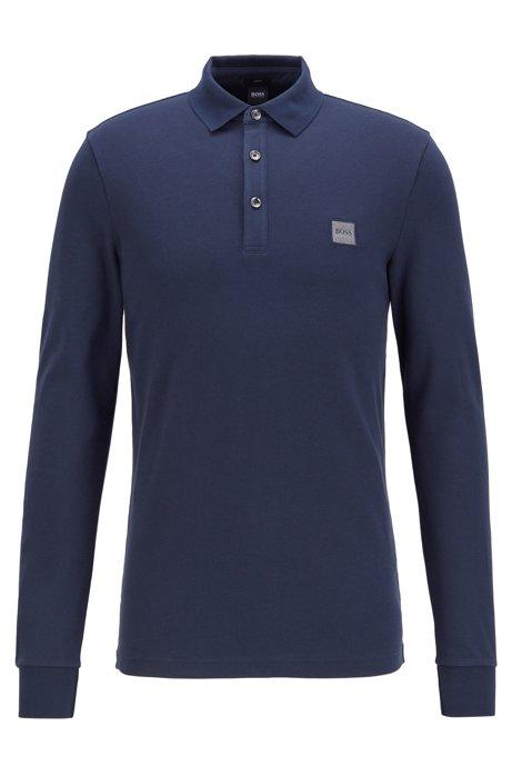 Polo Slim Fit en piqué de coton stretch , Bleu foncé