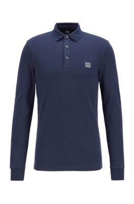 Slim-fit polo shirt in stretch cotton piqué , Dark Blue