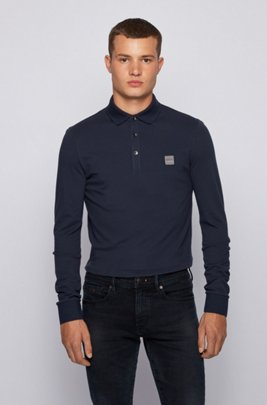 Slim-fit polo shirt in stretch cotton piqué , Dark Blue
