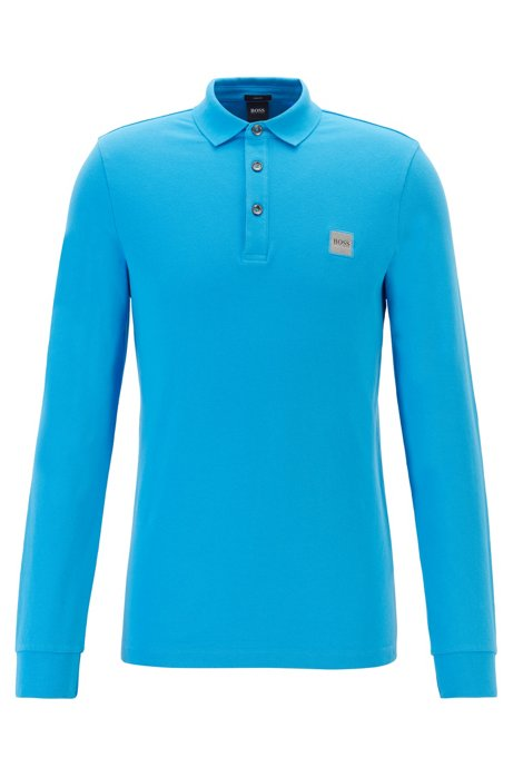 Polo Slim Fit en piqué de coton stretch , Bleu