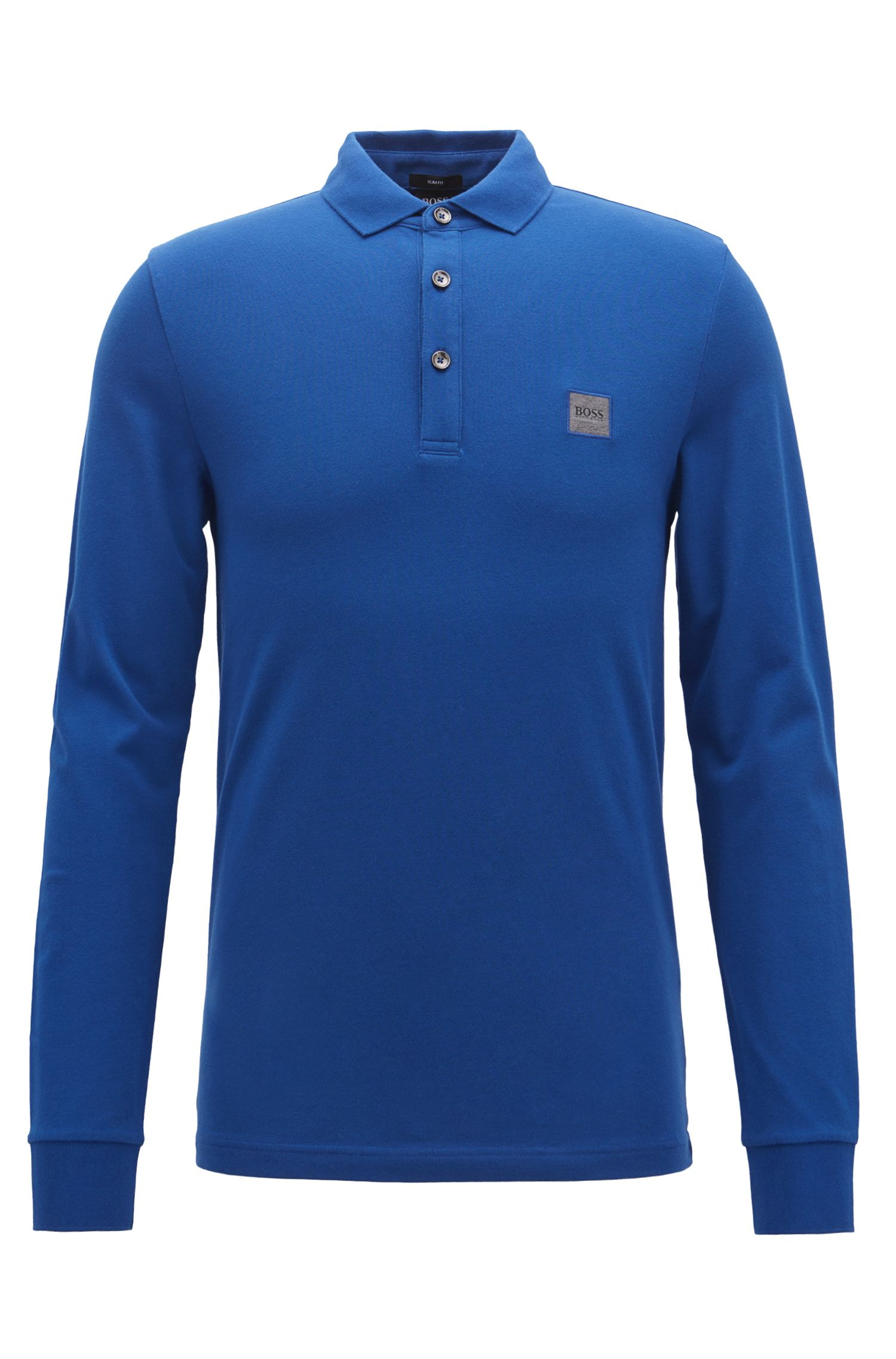 Slim-fit polo shirt in stretch cotton piqué , Blue