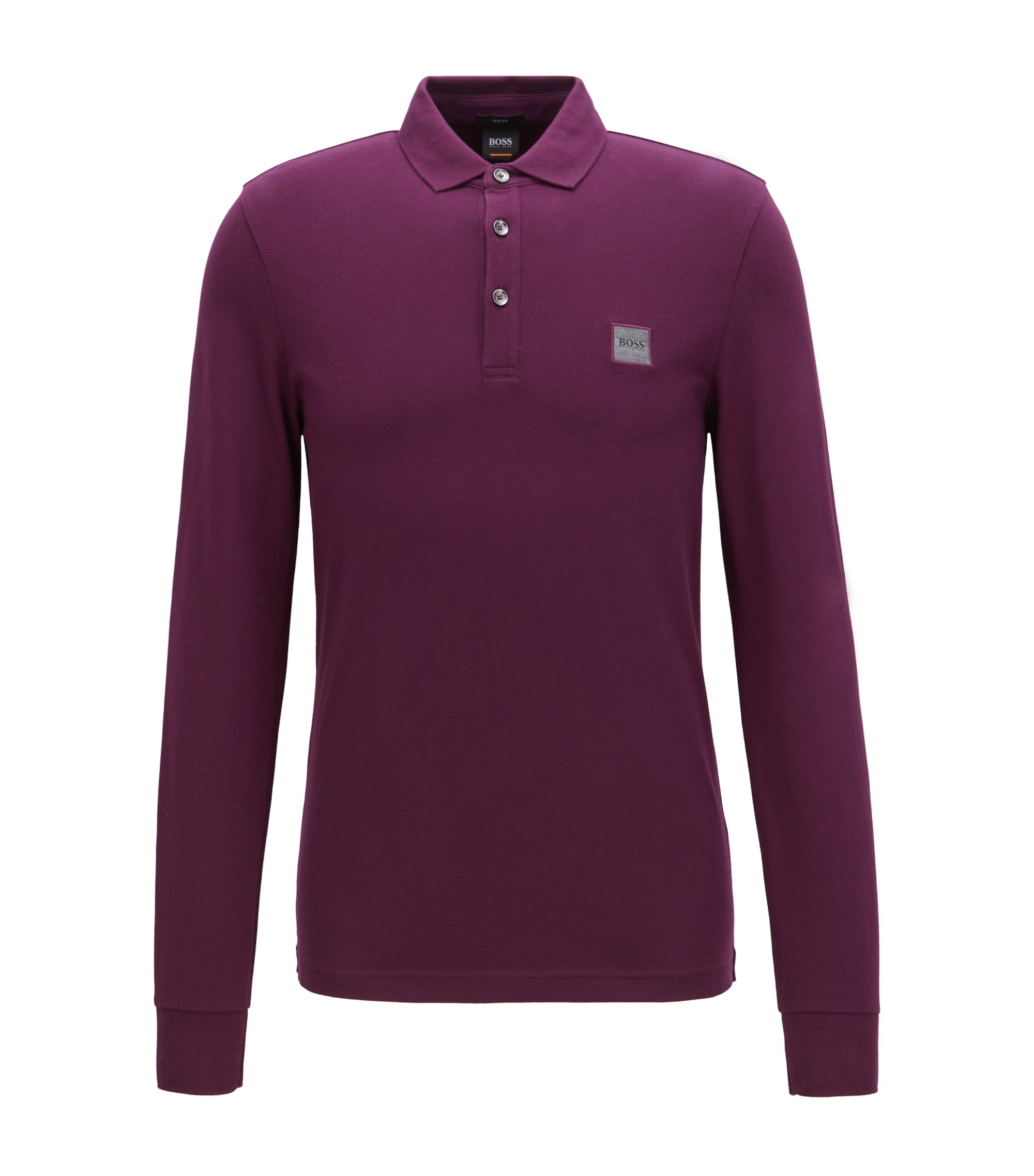 Slim-fit polo shirt in stretch cotton piqué , Light Purple