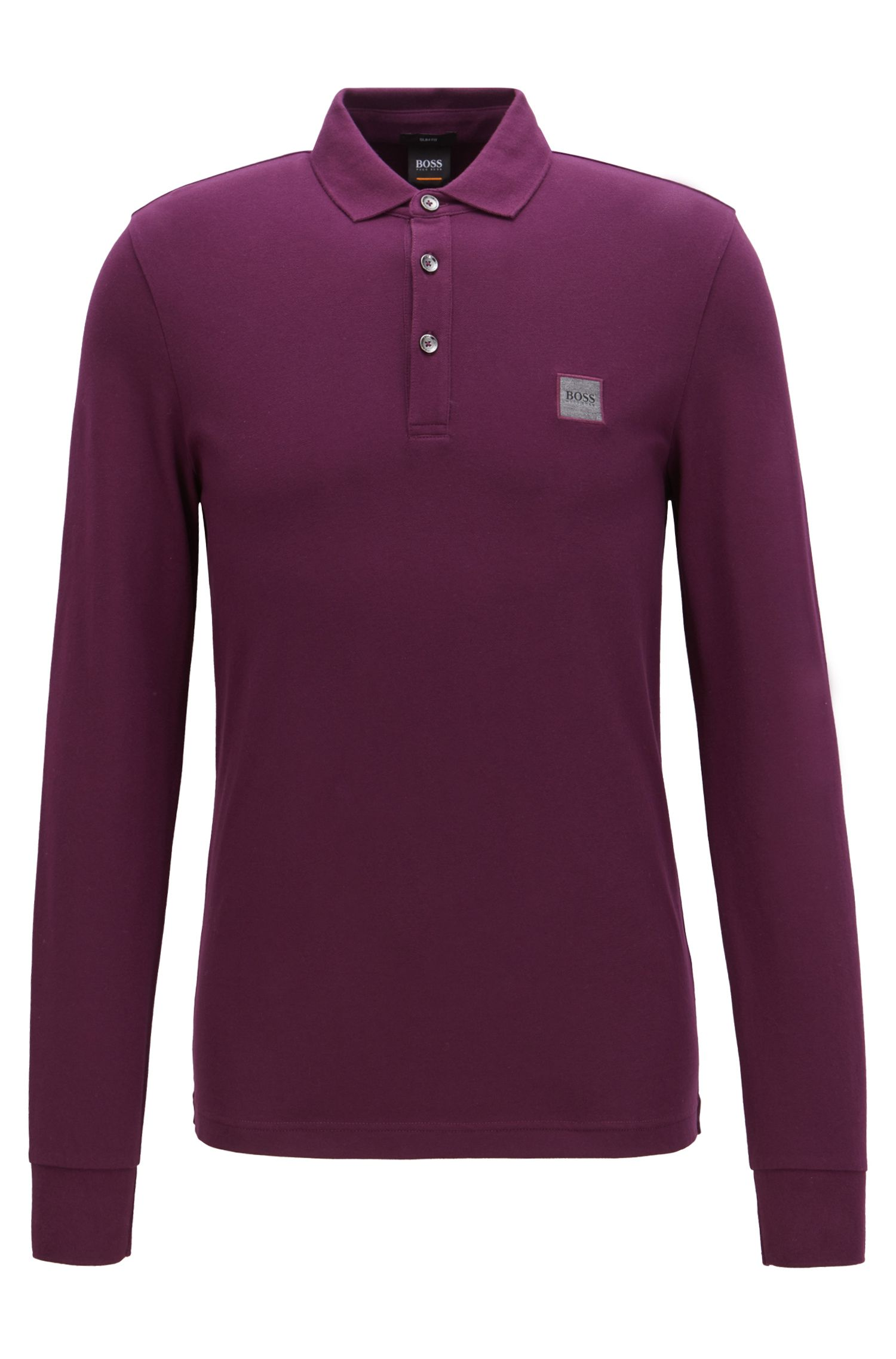 Polo Slim Fit en piqué de coton stretch , Violet clair