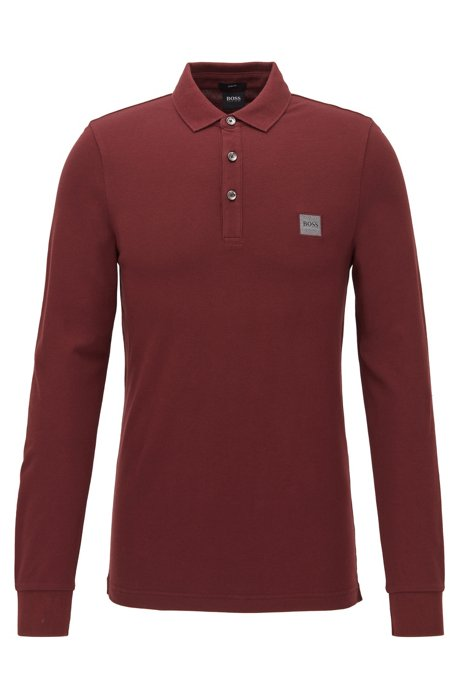 Polo Slim Fit en piqué de coton stretch , Rouge sombre