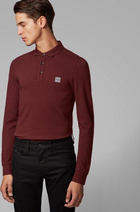 Polo slim fit in piqué di cotone elasticizzato , Rosso scuro