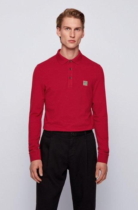 Slim-fit polo shirt in stretch-cotton piqué , Dark Red