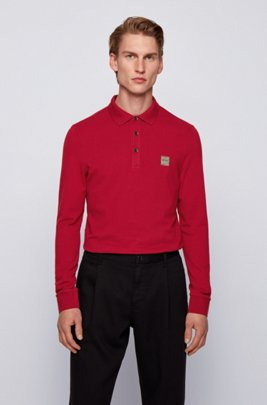 Slim-fit polo shirt in stretch-cotton piqué , Dark Red