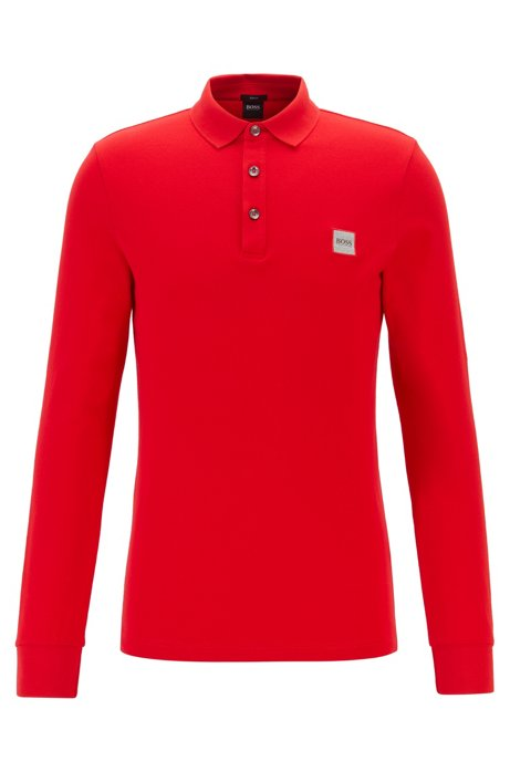Polo Slim Fit en piqué de coton stretch , Rouge