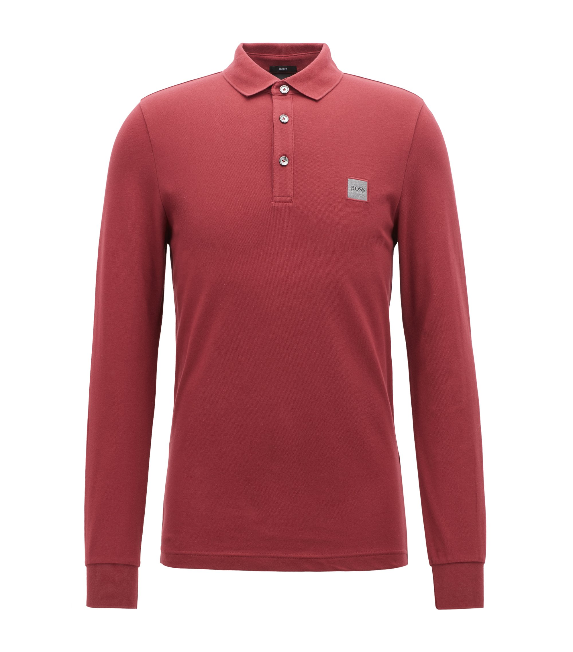 Polo Slim Fit en piqué de coton stretch , Rouge clair