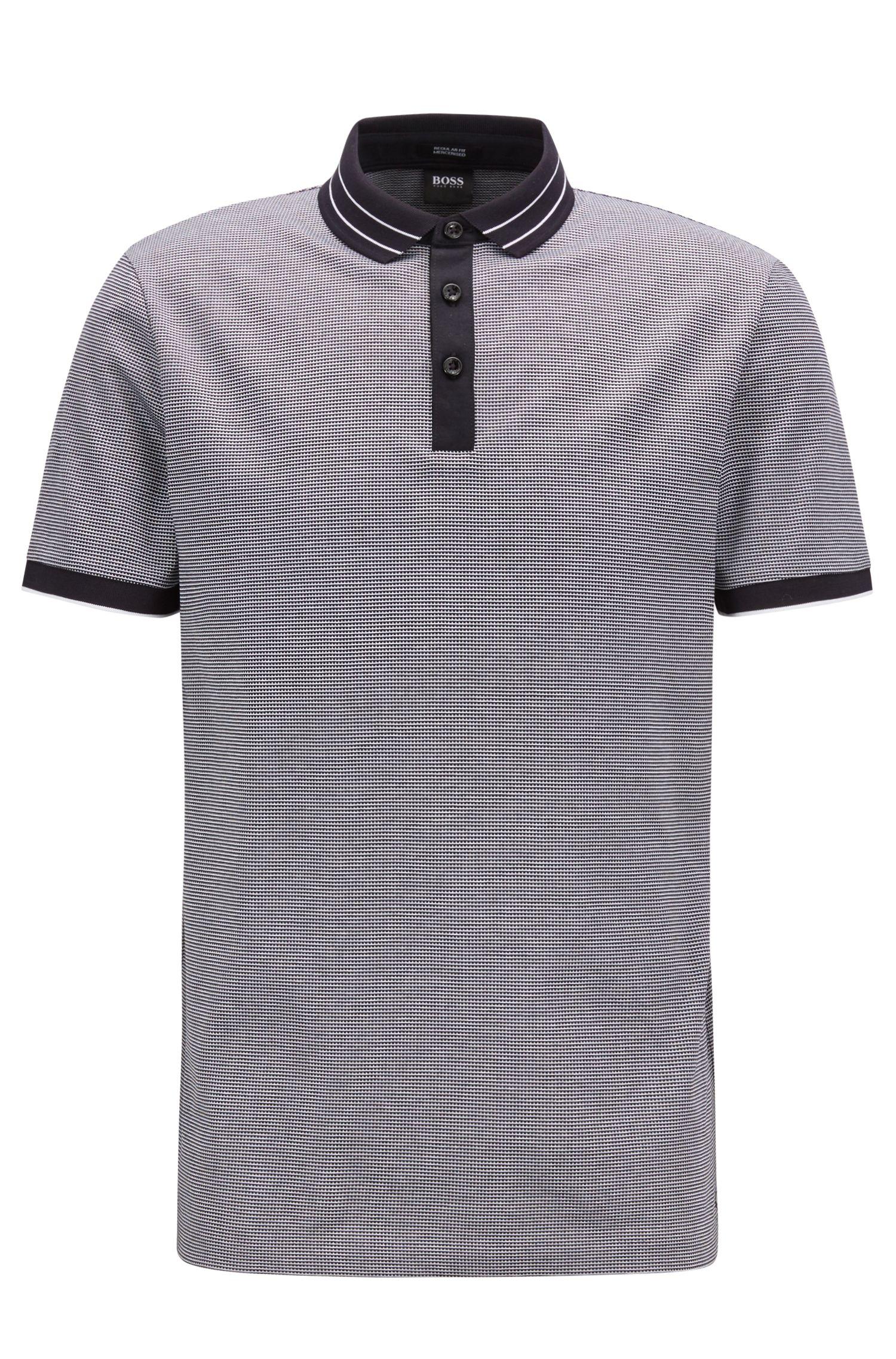 Micro-pattern polo shirt in mercerised cotton jacquard, Dark Blue