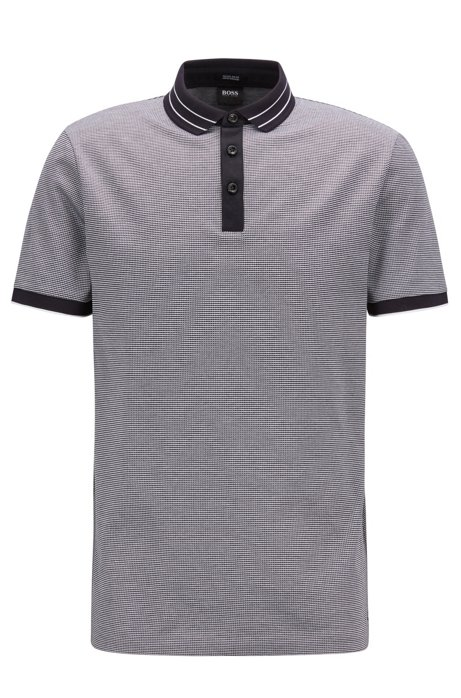 669d87147 BOSS - Micro-pattern polo shirt in mercerised cotton jacquard