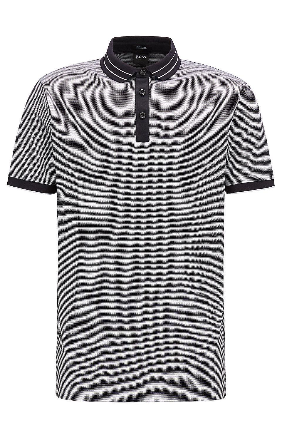e9d65953 BOSS - Micro-pattern polo shirt in mercerised cotton jacquard