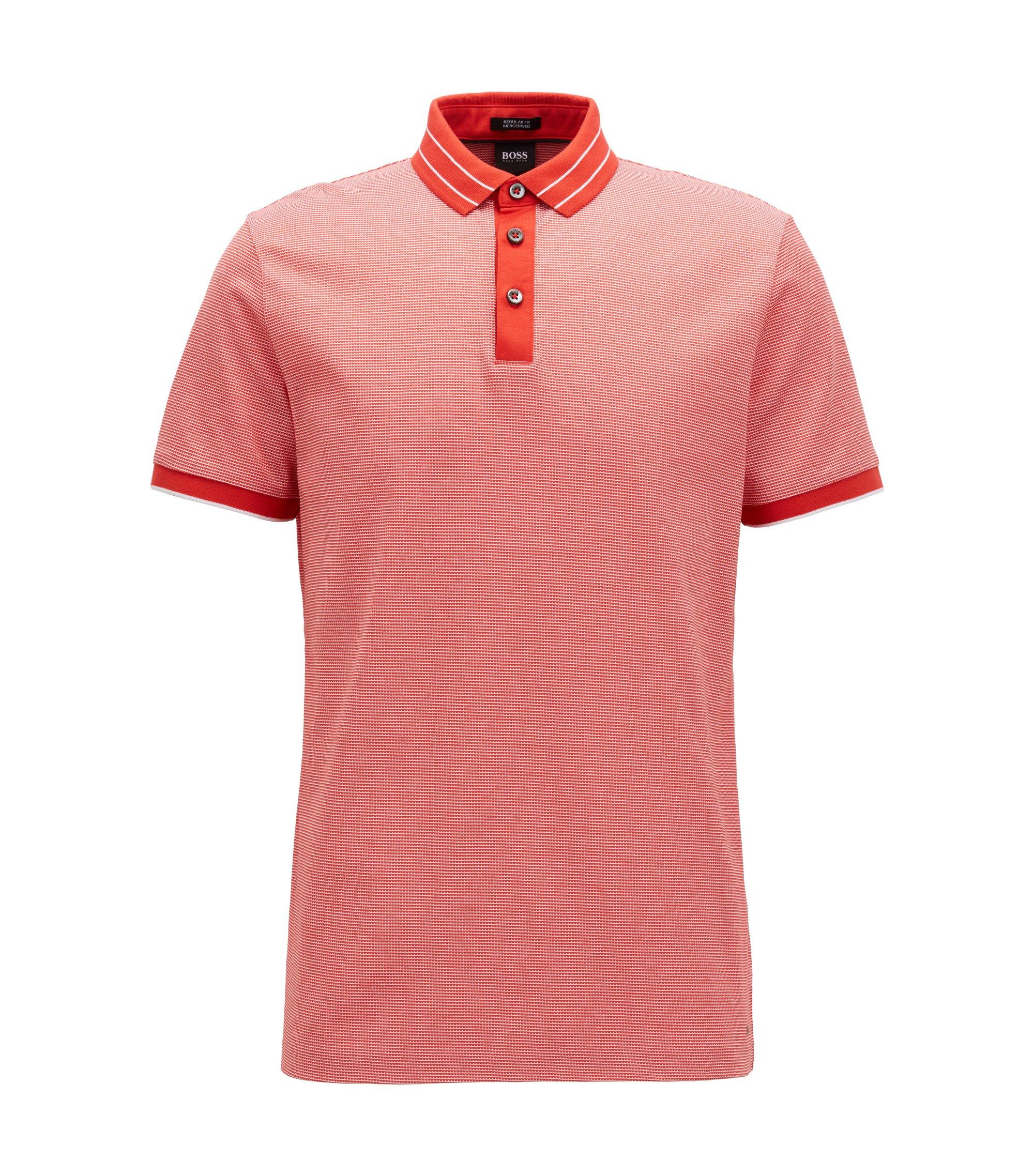 Polo en jacquard de coton mercerisé à micro-motif, Rouge