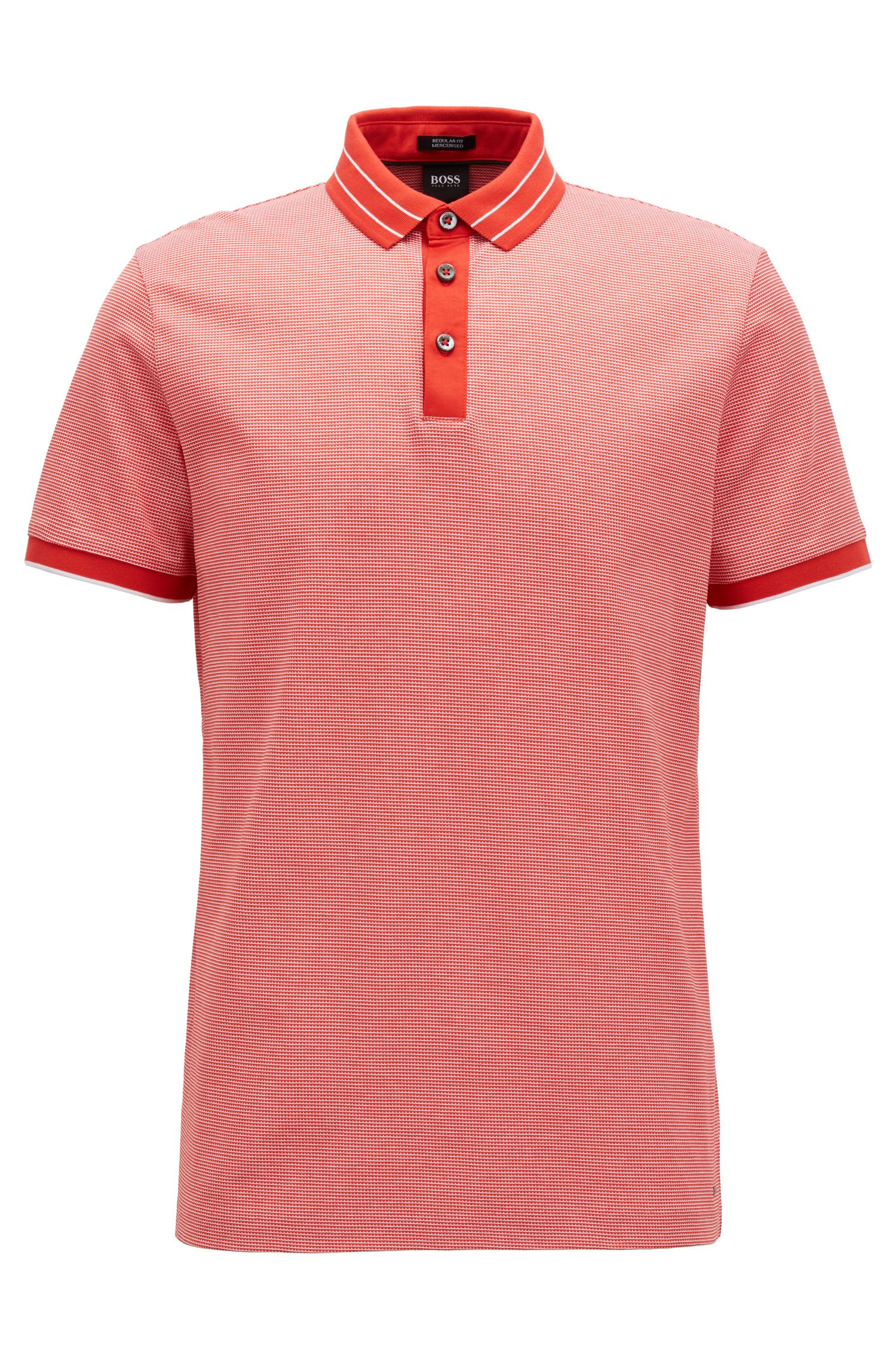Micro-pattern polo shirt in mercerised cotton jacquard