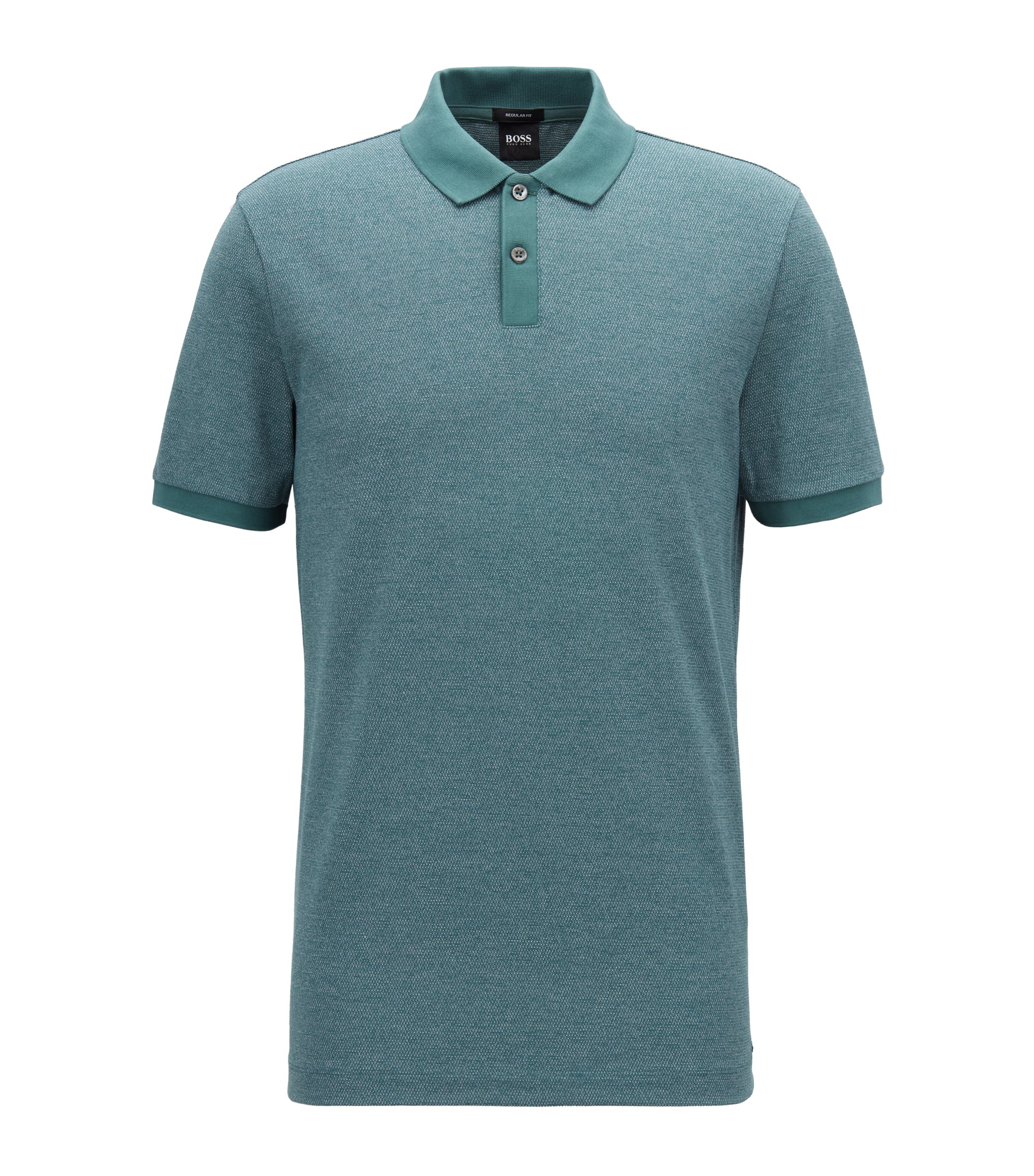 Regular-fit polo shirt in knitted jacquard, Dark Green