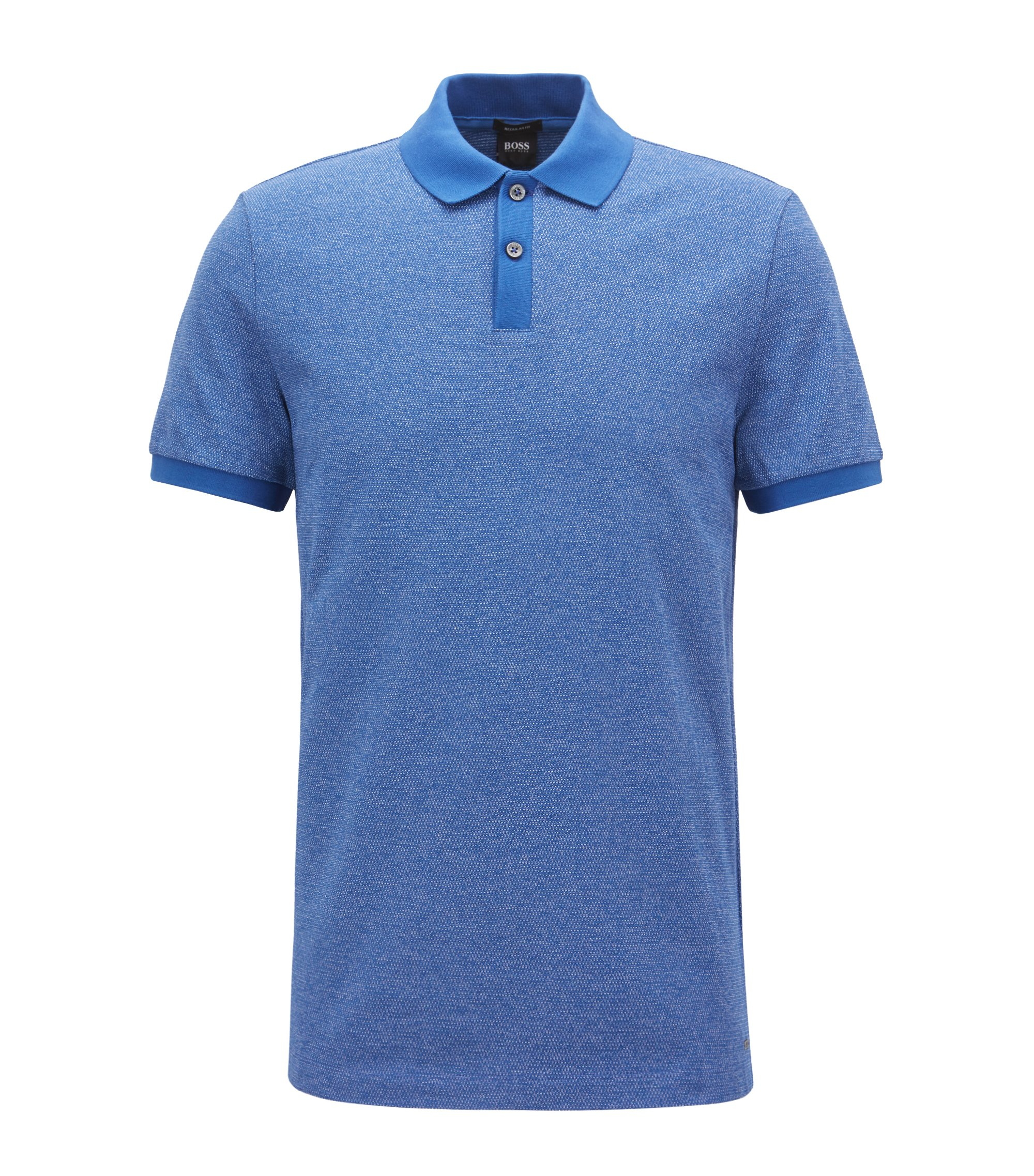 Polo Regular Fit en maille jacquard, Bleu vif