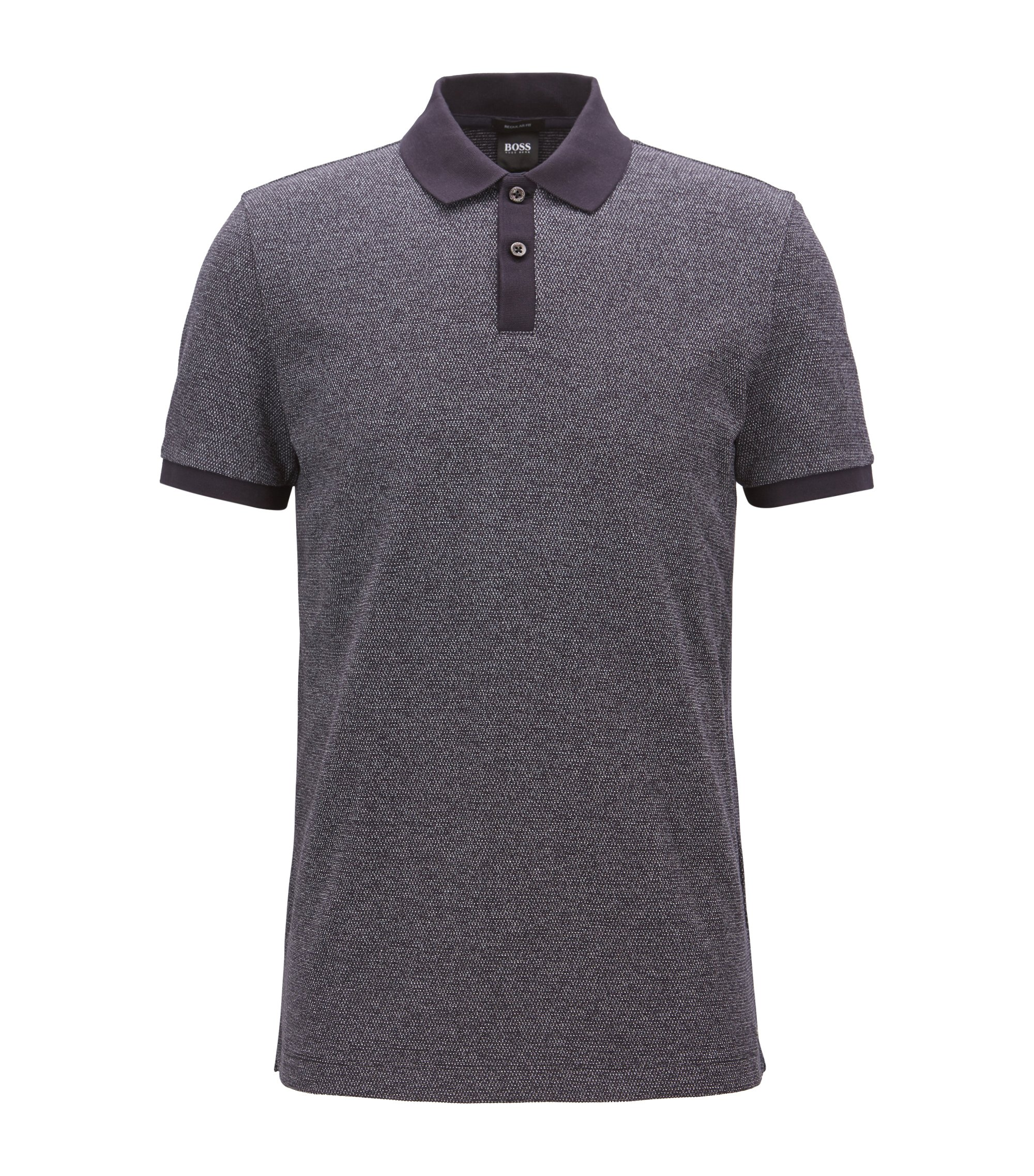 Regular-fit polo in een gebreide jacquard, Donkerblauw