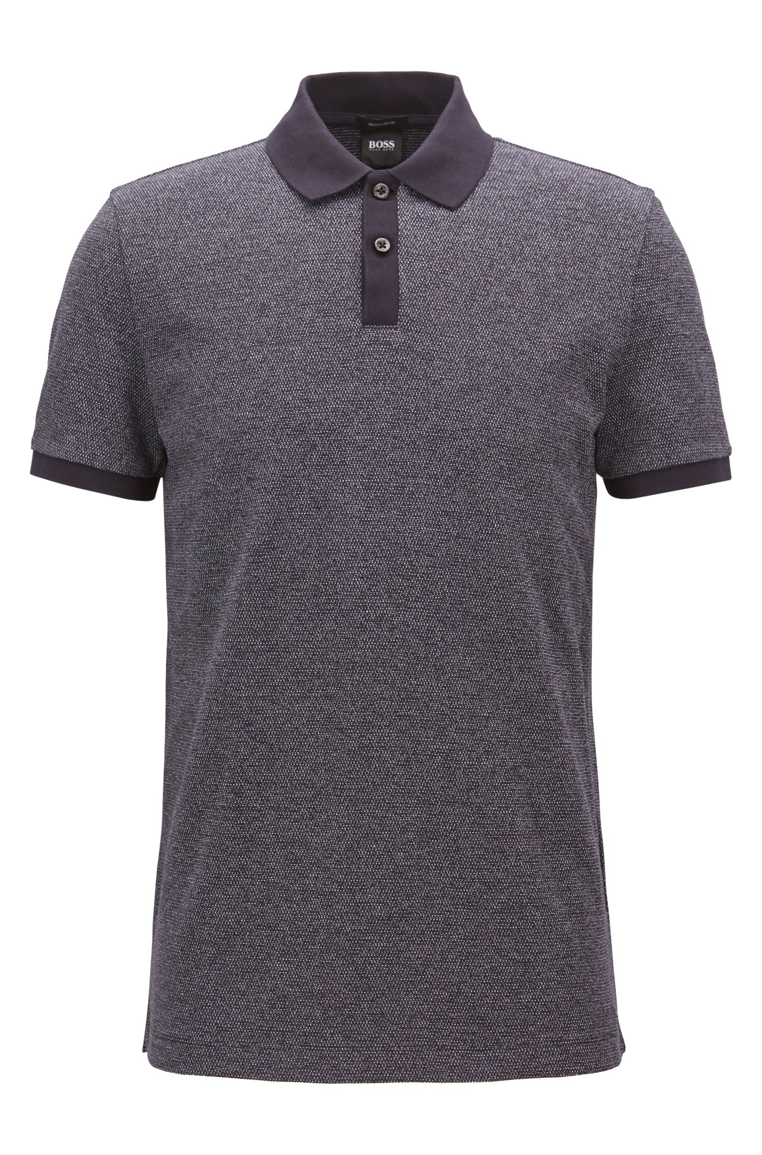 Polo regular fit en jacquard de punto, Azul oscuro